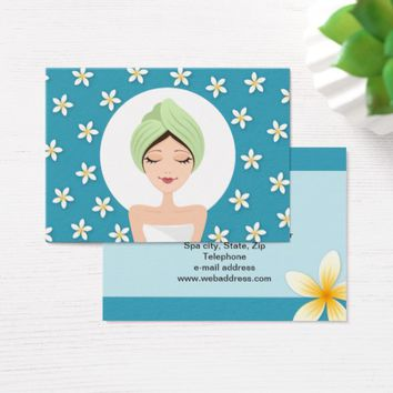 Beauty salon or spa business card - teal blue
