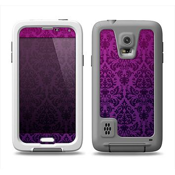 The Purple Delicate Foliage Pattern Samsung Galaxy S5 LifeProof Fre Case Skin Set