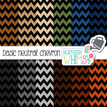Neutral Chevron Digital Paper – scrapbook paper in grey, brown, tan, navy & olive - masculine paper - printable paper - commercial use