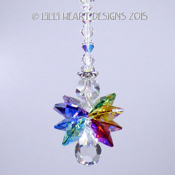 m/w Swarovski Crystal Car Charm Rare Quadruple Aurora Borealis Coated Wings Little CHAKRA ANGEL SunCatcher Lilli Heart Designs