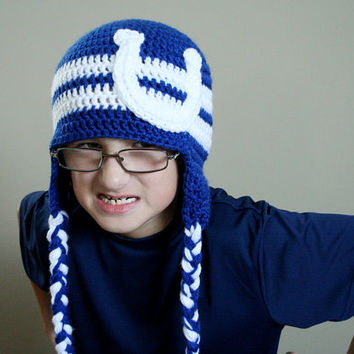 Football Team Hat, Crochet NFL Hat, Indianapolis Football Hat, Indianapolis Colts, Adult sizes