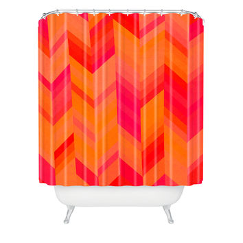 Rebecca Allen Orange Quest Shower Curtain