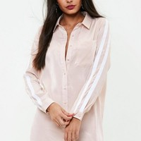 Missguided - Nude Satin Sports Stripe Sleeve Shirt Dress