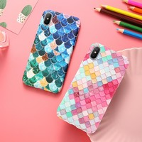 KISSCASE Colorful Grid Case For iPhone 7 7 Plus 6 6S 5S 5 SE Mermaid 3D Girly Cover For iPhone 5s SE 6s Plus 7 7Plus X 10 Coque