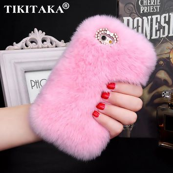 Fashion Luxury Fluffy Winter Soft Wool Rabbit Hair Cover for Iphone 5 5s SE 6 6s 7 Plus Fur Plush Bling Diamond Bow elegant Case