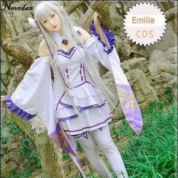 Re Zero Kara Hajimeru Isekai Seikatsu Emilia Cosplay Costume Fancy Dress+Elf Ears+Socks Halloween Adult Costumes For Women