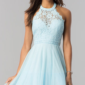 High-Neck Short Halter Party Dress for Homecoming