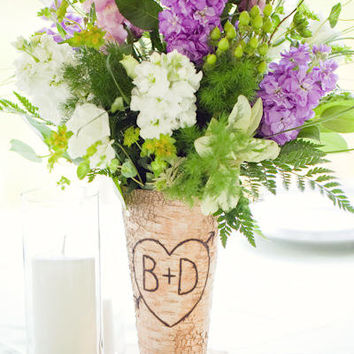 Personalized Birch Vase Gift  Party Entertaining (item E10189)