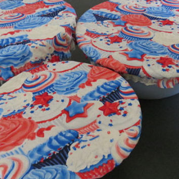 Reusable Bowl Covers, Elastic Bowl Lids, Eco Friendly Lids, Cupcake Fourth Of July Bowl Covers