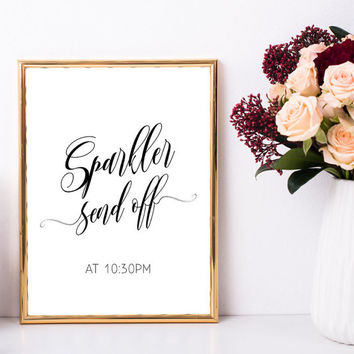 Sparkler send off sign for wedding, Wedding day sparklers sign, Printable sign, Wedding ceremony decorations, Personalized wedding sign