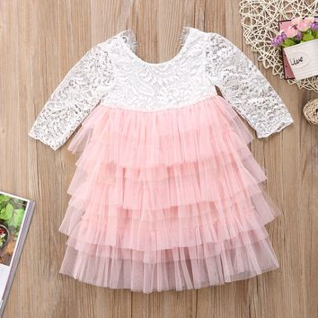 Girls Low Back Lace & Tulle Dress