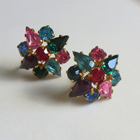 Fruit Salad Earrings, Vintage Czech Multicolor Crystals & Gilt Brass Clusters, Signed Czechoslovakia, Art Deco Era