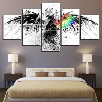 Canvas Pictures Wall 5 Panel Print Pink Floyd Rock Music Abstract Eagle