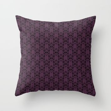 Halloween Damask - Violet Throw Pillow by Abigail Larson