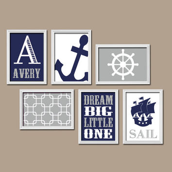 BOY Nautical Wall Art CANVAS or Prints Boy Nautical Nursery Baby Boy Nursery Wall Art Boy Bedroom Wall Art Decor Navy Boy Wall Art Set of 6