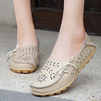 Hot Size 34-44 shoes women Breathable slip on flats women's Moccasins genuine leather