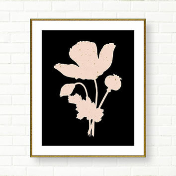 Vanity Decor, Botanical Art, PRINTABLE, Black Pink Art, Wild flower, Powder Pink, Office Art, Modern, Girl Nursery, Retro, Shabby Chic
