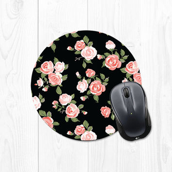 Mousepad Mouse pad Spring Floral Coral Pink Peach by fieldtrip