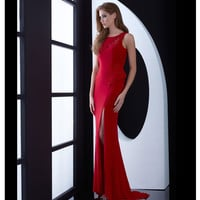 Red Floor Length Open Back Gown