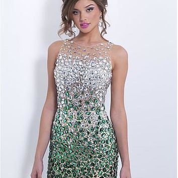 [99.78] Fabulous Tulle & Stretch Satin Jewel Neckline Backless Mini Homecoming Dress With Rhinestones - Dressilyme.com