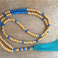 Long Tassel Necklace, Blue and Turquoise Mala Necklace, Prayer Necklace, Yoga Necklace, Spiritual Jewelry, Boho Necklace, Wood Necklace