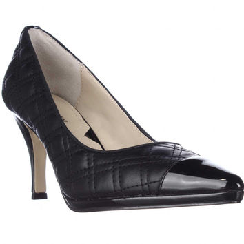 Adrienne Vittadini Footwear Jantine Pointed Toe Cap Pumps - Black Quilted