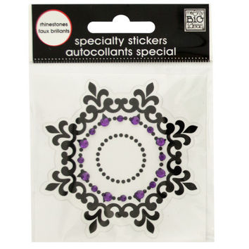Black Icon Rhinestone Specialty Sticker ( Case of 48 )