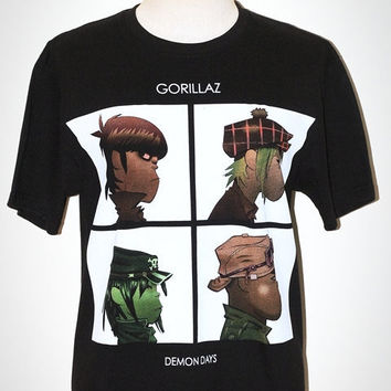 Gorillaz Demon Days Black Indie Art Punk Rock T-Shirt Size S