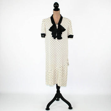 Black White Polka Dot Dress Women Medium Short Sleeve Dress 30s Style Loose Fitting Dress Drop Pleated Hem Vintage Clothing Womens Clothing