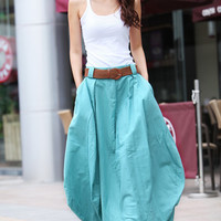 Romantic Lake Green Pretty Linen Bud Long Maxi Skirt - NC338
