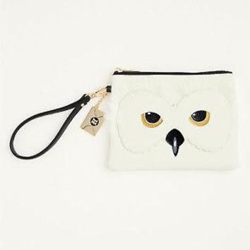 Licensed cool Harry Potter Hedwig Snowy Furry Owl Faux Leather Clutch Wristlet Purse Bag NWT