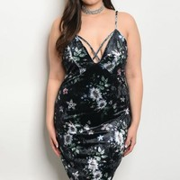Velvet Floral Dress - Plus Size (2 Colors)