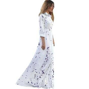 new trendy  maxi dress Women dot floor length Sexy Summer Boho Party Long Beach Dress Chiffon vestido de festa longo
