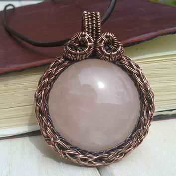 Rose Quartz Pendant - Wire Wrapped Pendant - Wire Wrapped Jewellery Handmade - Wire Jewellery - Viking Knit