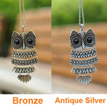 Korea Style and Vintage Cute Owl Pendant Sweater Chain