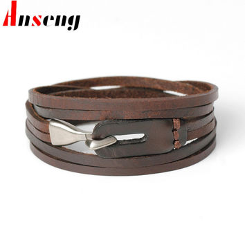 Anseng New Fashion Genuine Leather Hook Bracelets For Men Women Popular Knight Courage Bandage Charm Anchor Bracelets & Bangles.