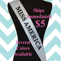 Personalized Custom Kids and Adult Customized MISS State  or Country Beauty Pageant Sash Party Sash Halloween Costume Halloween Accessories