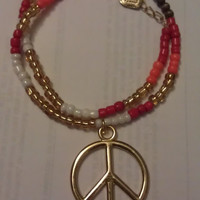 Beaded Peace Sign Wrap Around Bracelet by allthingswildandfree
