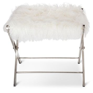 Threshold™ Metal Fur Folding Stool with Silver Finish