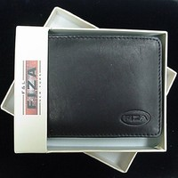 Mens Black Leather Wallet Bifold Deluxe Cowhide Boxed FL28