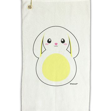 "Cute Bunny with Floppy Ears - Yellow Micro Terry Gromet Golf Towel 11""x19 by TooLoud"