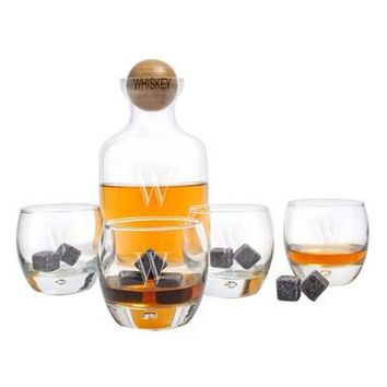 Monogram Glass Whiskey Decanter, Glasses & Soapstones
