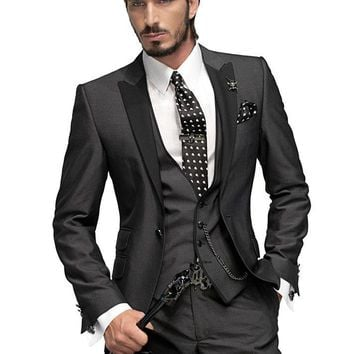 Newest Fabulous Three piece Suit men wedding suit men suit Black tie suit custom
