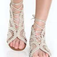 Steve Madden Paiigge Bone Lace-Up Sandals - $69.00