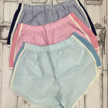 Preppy Seersucker Running Shorts