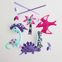 "Baby Mobile - Baby Dino Crib Mobile - ""Dino's Party""  - Handmade Nursery Mobile (Match your bedding)"