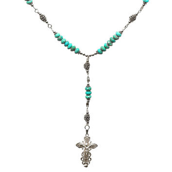 Sterling Silver 7 Sorrows Rosary Necklace Turquoise 6mm, Silver Crucifix, 17""