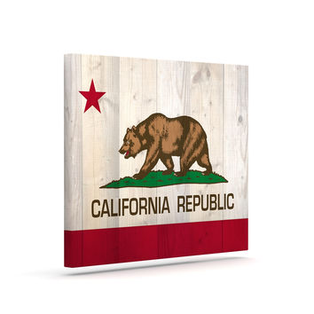 "Bruce Stanfield ""California Flag Wood"" Brown Canvas Art"