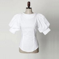 Vintage Puff Lantern Sleeve Shirt 2017 Womens Casual Back Buttons O-Neck Loose Short Sleeve Tops Ladies Cotton White Blouse
