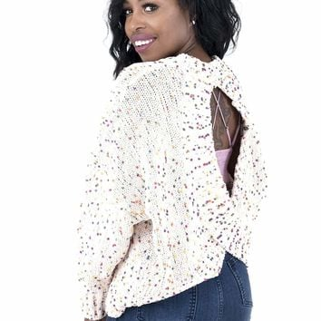 Women's Speckled Knit Sweater with Criss Cross Open Back